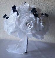 White Rose Navy Blue Baby Breath Bridal Wedding Bouquet & Boutonniere