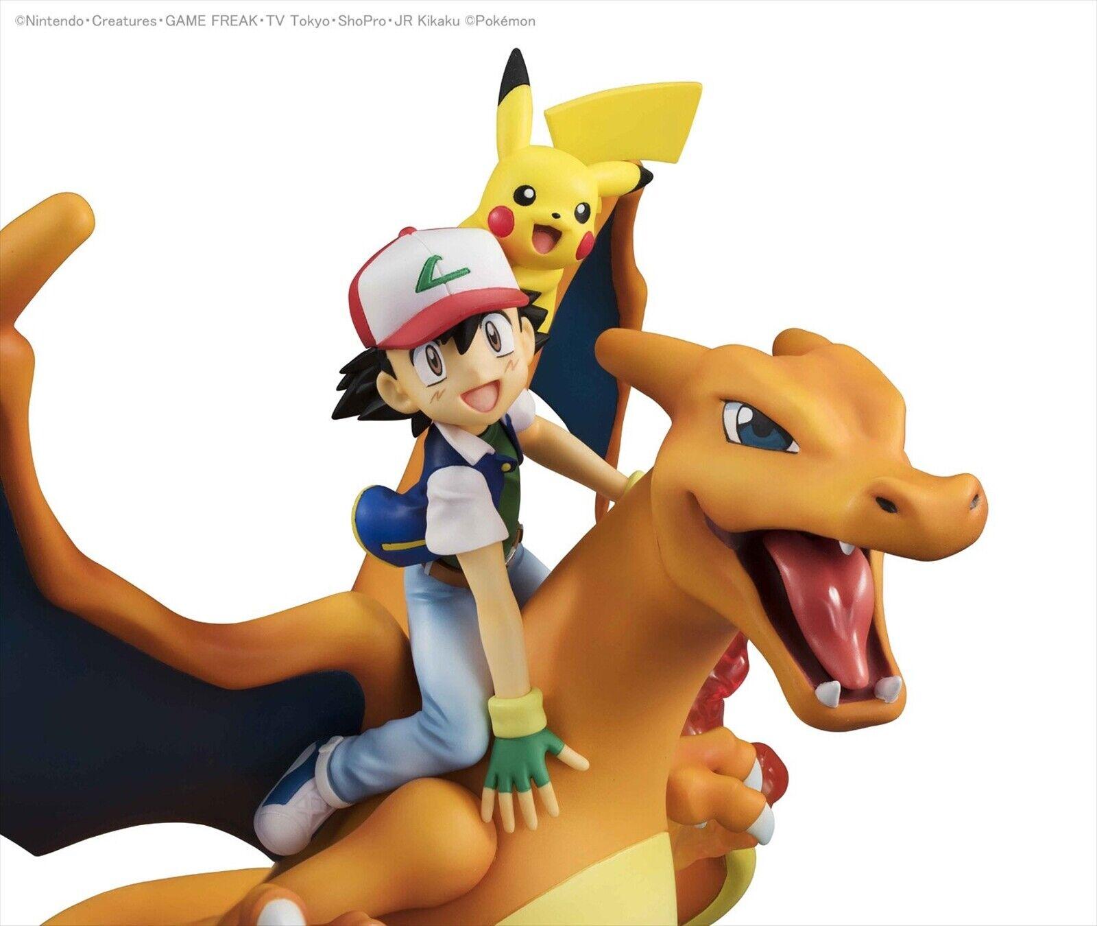 MegaHouse G.E.M.Series Pokemon Ash Ketchum & Pikachu & Charizard PVC Figure F S