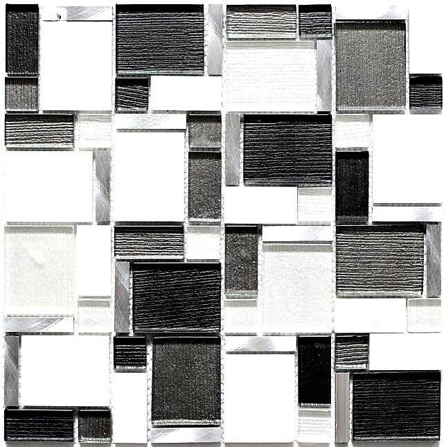 Glas- Natursteinmosaik alu Kombination mix weiß und grau Art 49-FK02   10 Matten