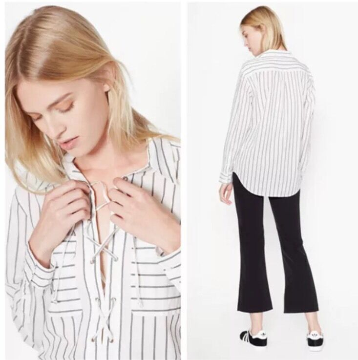 EQUIPMENT Knox Striped Cotton Long Sleeve Shirt Lace Up XS S Small New