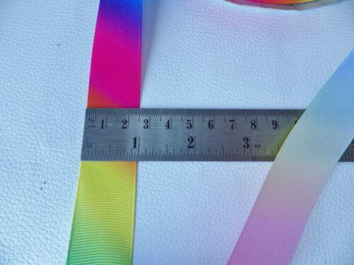 3 Largeurs: 10 mm Arc-en-ciel//Pride Gros-Grain Ruban 38 mm UK Vendeur 25 mm