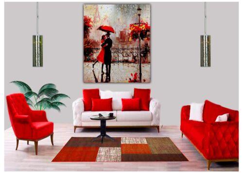 Couple Dancing Red Umbrella Rain drops Oil paint Reprint on Framed Canvas Art