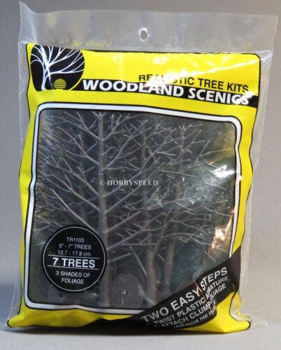 "WOODLAND SCENICS 7 TREES 3 SHADES OF FOLIAGE 5 to 7/"" o gauge train land WDS1103"