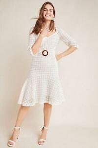 NWT-220-Anthropologie-Maeve-belted-eyelet-dress-3-4-Sleeve-floral-Ivory-Size-12
