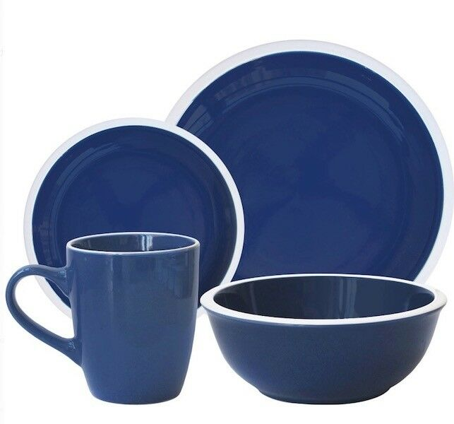 Contemporain Blanc Marine Rim Dinnerware Set Bleu 32 Piece DESSERT 8 Place plats