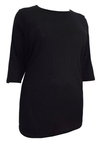 Modifier Curve Femmes Noir Côtelé Stretch T-shirt top manches 3//4 Taille Plus 22-36