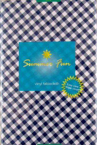 Size Blue Gingham Check Vinyl Tablecloth Summer Fun Outdoor Picnic Elrene Asst