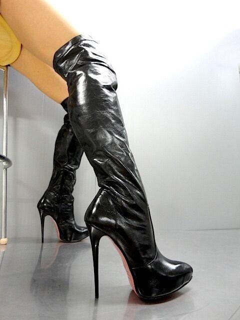 MORI OVERKNEE PLATFORM SEXY Stiefel STIEFEL STIVALE Stiefel LEATHER LEATHER LEATHER schuhe schwarz schwarz ec1ede