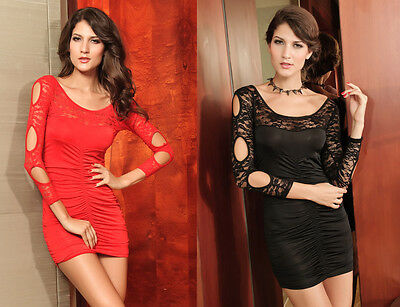Sexy Red/Black Lace Stretch Cutouts Ruched Mini Dress Party/Clubbing Size 10/12