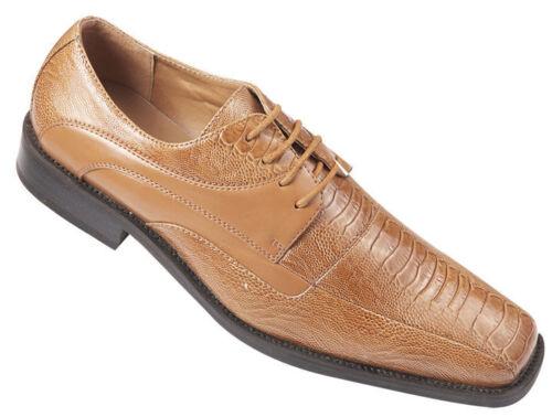 Men/'s High Quality Fashion Dress Shoes SnakeSkin//Lizard Pattern Light Brown 5748