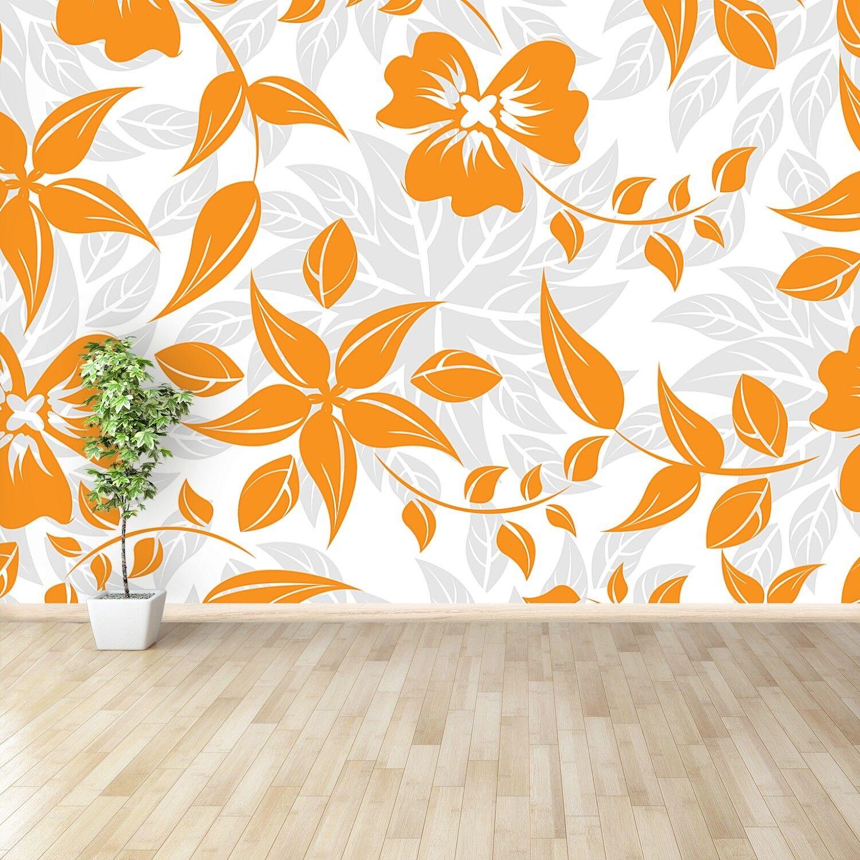 Vlies-Fototapete Fototapeten Tapete aus Vlies Poster Foto Orange Blumen