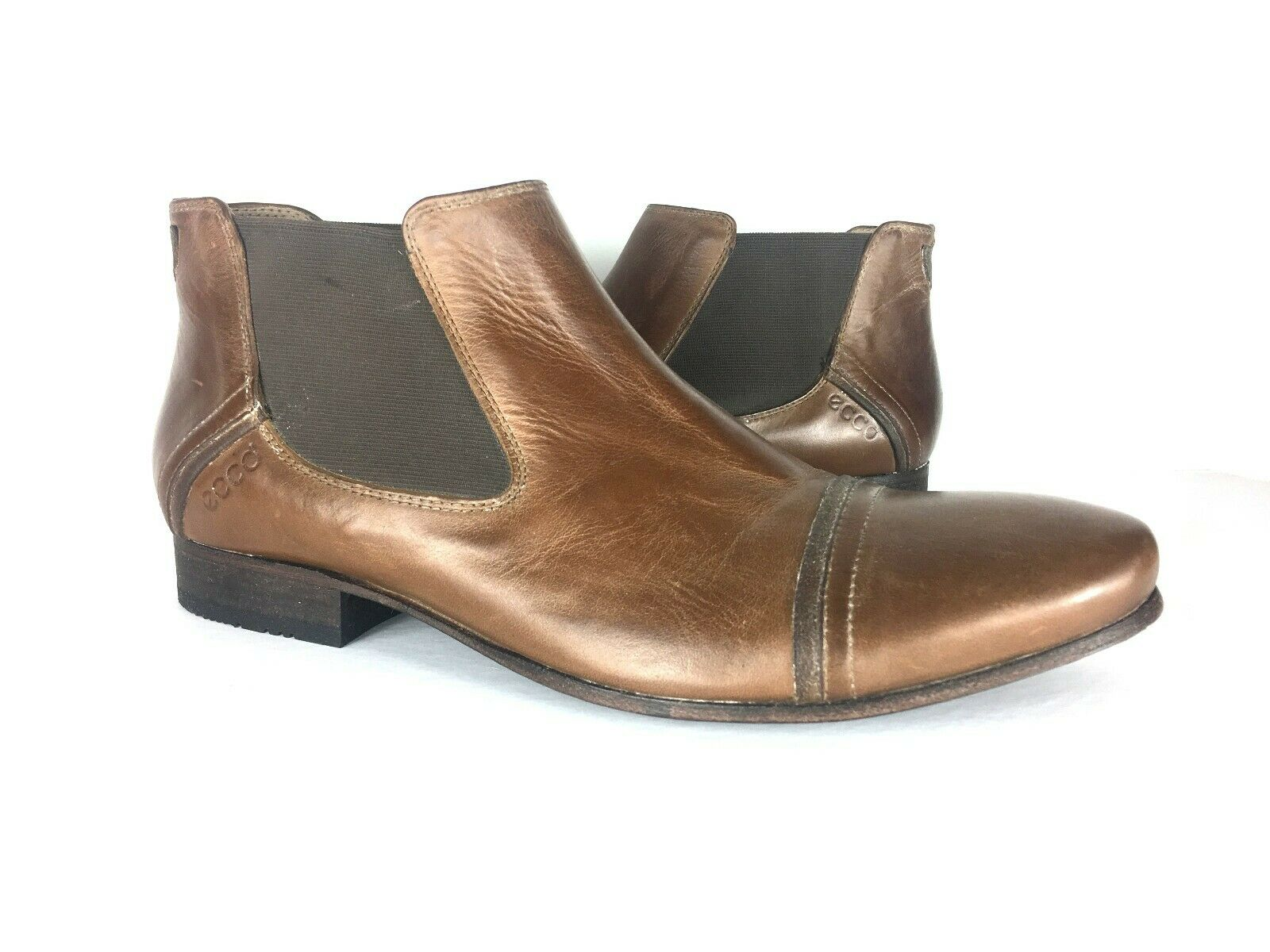 Ecco Men's Brown Leather Chelsea Ankle Motto Boots Sz 41 or US8