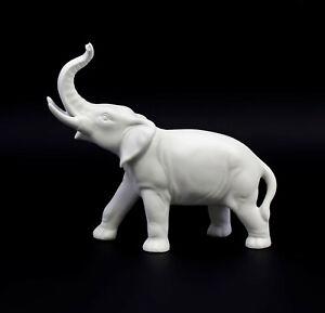 9942630  Porzellan Figur Elefant weiß bisquit Wagner&Apel H16cm