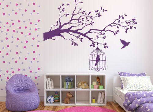 n388 Wall Sticker Caged Bird Tree Branch Let Bird Free Vinyl Decal