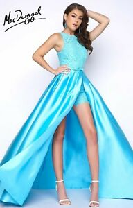 NWT-Mac-Duggal-62715-Size-2-Turquoise-mikado-long-formal-Shorts-prom-gown