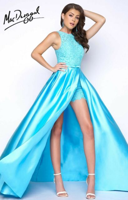 NWT Mac Duggal 62715 Size 2 Turquoise mikado long formal/Shorts prom gown