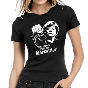 Und-taeglich-gruesst-das-Merkeltier-Angela-Merkel-Politsatire-Damen-Girlie-T-Shirt