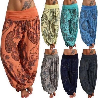 Harem Pants Boho Red Elephant Pants Hippie Aladdin Gypsy Loose Smocked Waist Yoga Casual Trouser Women Baggy Cotton Beach Summer Festival