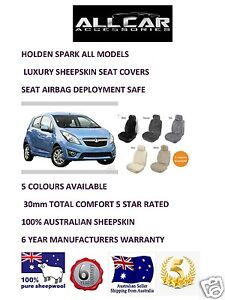 Sheepskin-Car-Seatcovers-for-Holden-Spark-all-models-Seat-Airbag-Safe-30mm-TC