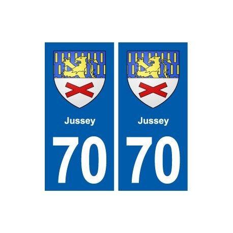 70 Jussey blason autocollant plaque stickers ville -  Angles : droits