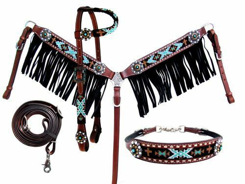 Showman NAVAJO Beaded One Ear Bridle FRINGE Breastcollar Reins Wither Strap SET