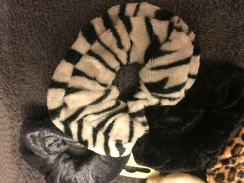 Pack 3 animal print hair scrunchies velour fabric elastic bobble zebra band