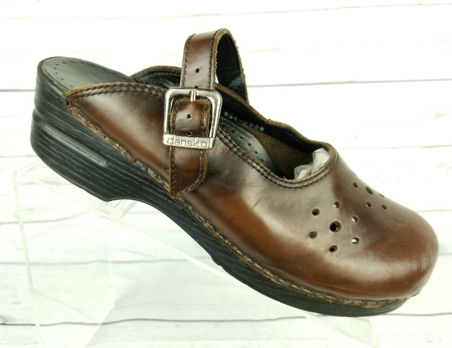 Dansko Womens Size 10.5 Chocolate Brown Perforated Leather Mary Jane Clogs