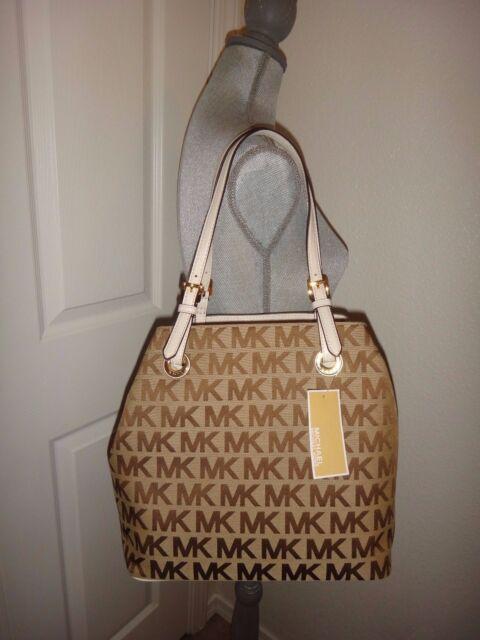 199bfe3768f8d8 MICHAEL KORS Women MK SIGNATURE Jacquard Grab Bag Convertible Tote Beige  Vanilla