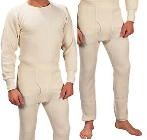 Extra Heavyweight Thermal Knit White Underwear - Long John Winter ...
