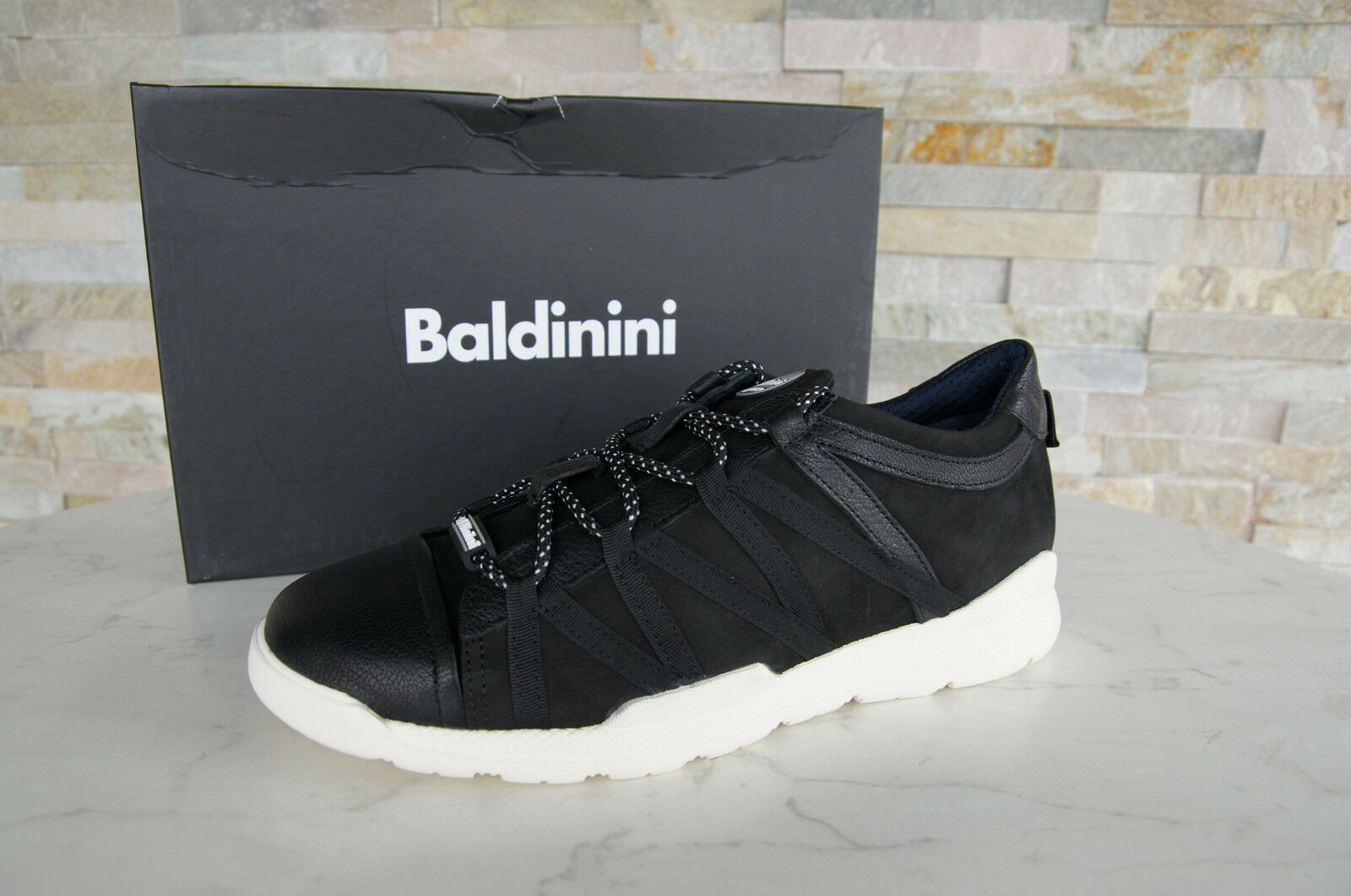 Baldinini Size 43 Sneakers Lace up Low shoes Black New Ehemuvp