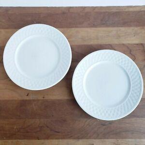 Oneida-Wicker-White-basketweave-border-stoneware-salad-plates-lot-of-2