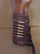 45 70 Cal Brown Leather Bullet Ammo Cartridge Rifle Stock Buttstock Cover Holder
