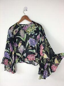 H-amp-M-Black-Floral-Semi-Sheer-Chiffon-Top-Blouse-Waterfall-Sleeves-Botanical-38-10