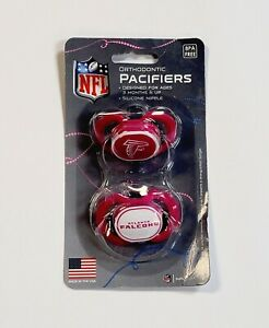 NFL Atlanta Falcons Orthodontic Pacifiers BPA Free Silicone Nipple 2-Pack Pink
