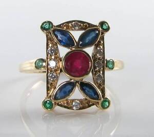 LONG-9K-9CT-GOLD-RUBY-SAPPHIRE-COLOMBIAN-EMERALD-DIAMOND-ART-DECO-INS-RING