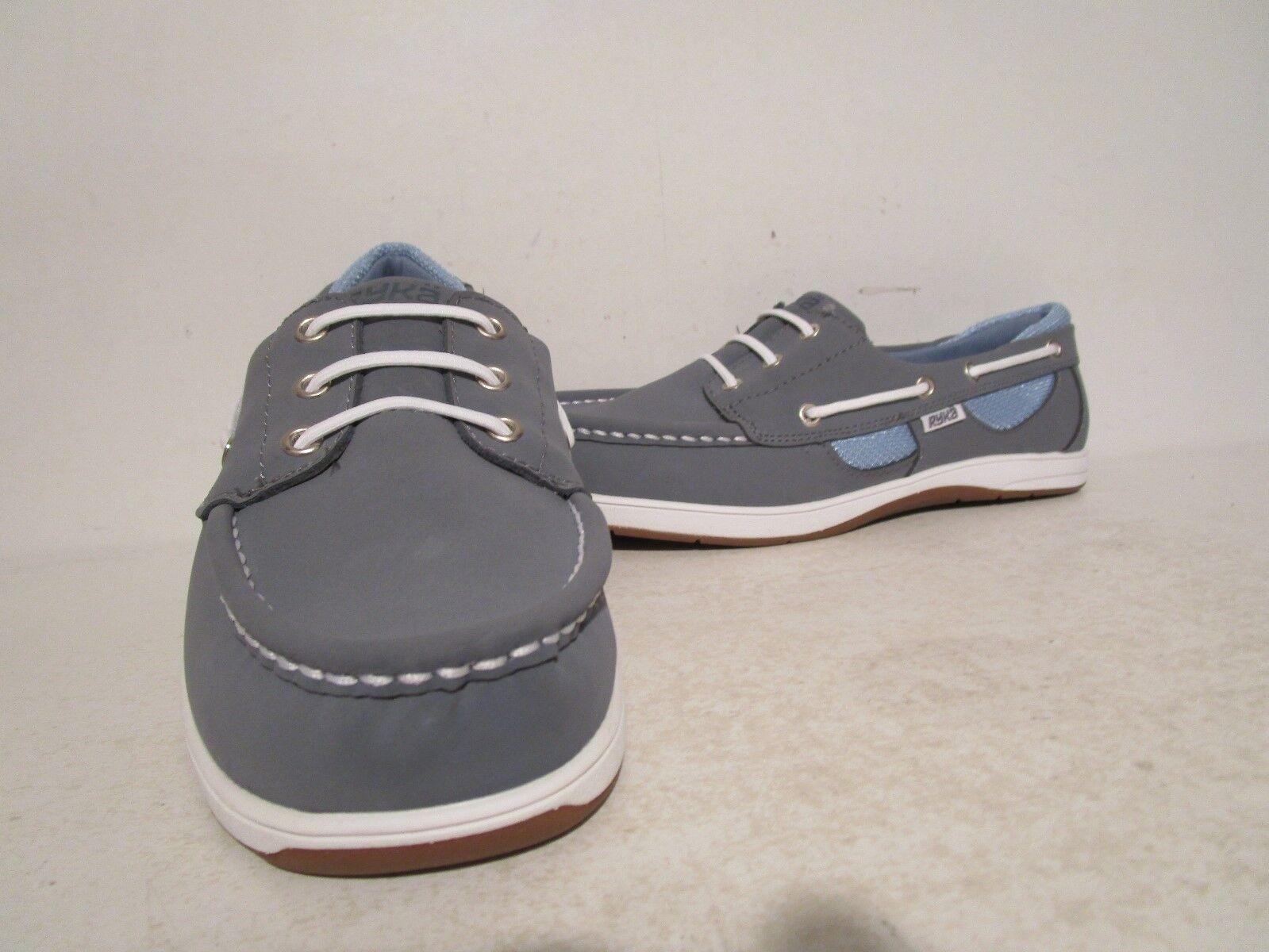 Ryka Womens Nubuck Leather Fabric Slip On Boat shoes bluee White Size 7.5 W