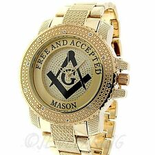 MENS ICE NATION GOLD ICED OUT FREEMASON MASONIC HIP HOP WATCH WITH METAL BAND