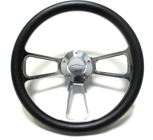 Full Kit Camaro Black /& Billet Steering Wheel Chevy Horn /& Billet Adapter