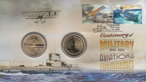 2014 PNC Australia Centenary of Military Aviation and Submarines with 2 unc $1