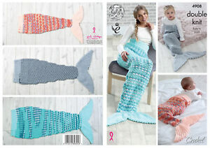 Mermaid Tail Blankets Crochet Pattern Baby To Adult Sizes King Cole