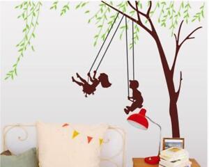 Schaukel Kinderzimmer | Wandtattoo Wandsticker Wandaufkleber Baum Schaukel Kinderzimmer 166