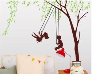 Details zu Wandtattoo Wandsticker Wandaufkleber Baum Schaukel Kinderzimmer  166 x 170 W106