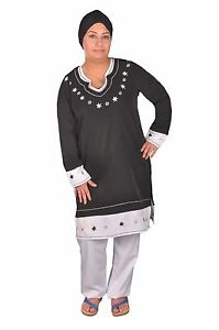 2 tlg.Set - Damen Jabador Tunika mit Hose, schwarz/weiß
