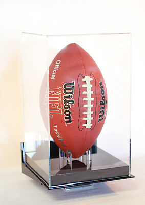 New England Patriot Football display case vertical wall mount full size 85% UV