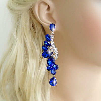 Fashion Earring Pierced Dangle Austrian Crystal Blue Silver Tone