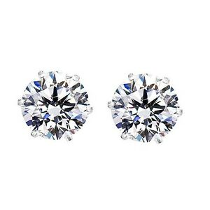 iJewelry2 Magnetic Clear Diamond Cubic Zirconia CZ Round Cut Sterling Silver Men Stud Earrings 6mm 9ghEcp