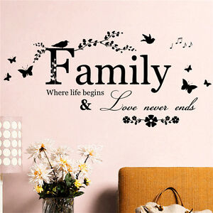 Famille-Lettre-Citer-Amovible-Vinyle-Decal-Art-Mural-bricolage-Home-Decor-Wall-Stickers