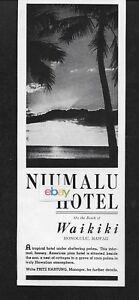 Internationale Antiq. & Kunst The Niumalu Hotel Am Strand In Waikiki 1946 Sonnenuntergang Anzeige Fest In Der Struktur