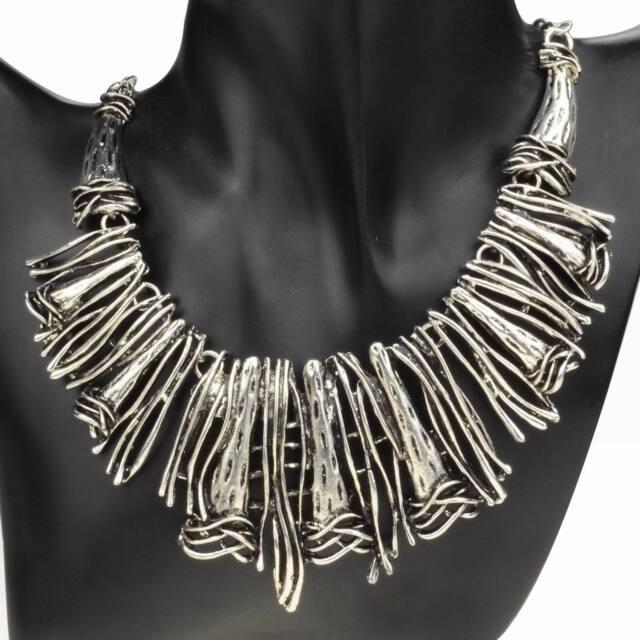 Tibetan Silver Gothic Pendant Metallic Bib Collar Bridal Statement Necklace