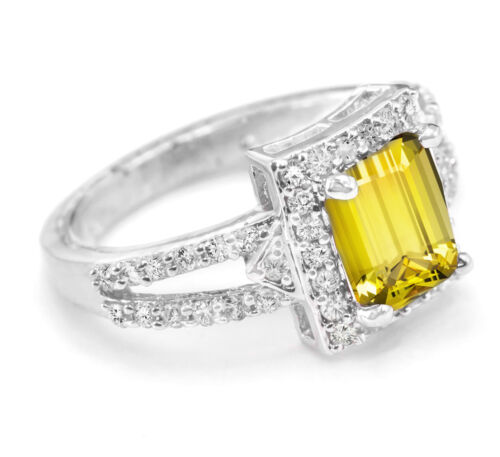 925 Sterling Silver Ring Jaune Citrine Natural Emerald Cut mousseux Taille 4-11